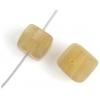 Glass Pressed Beads 8X10mm Cubes Olive Matt